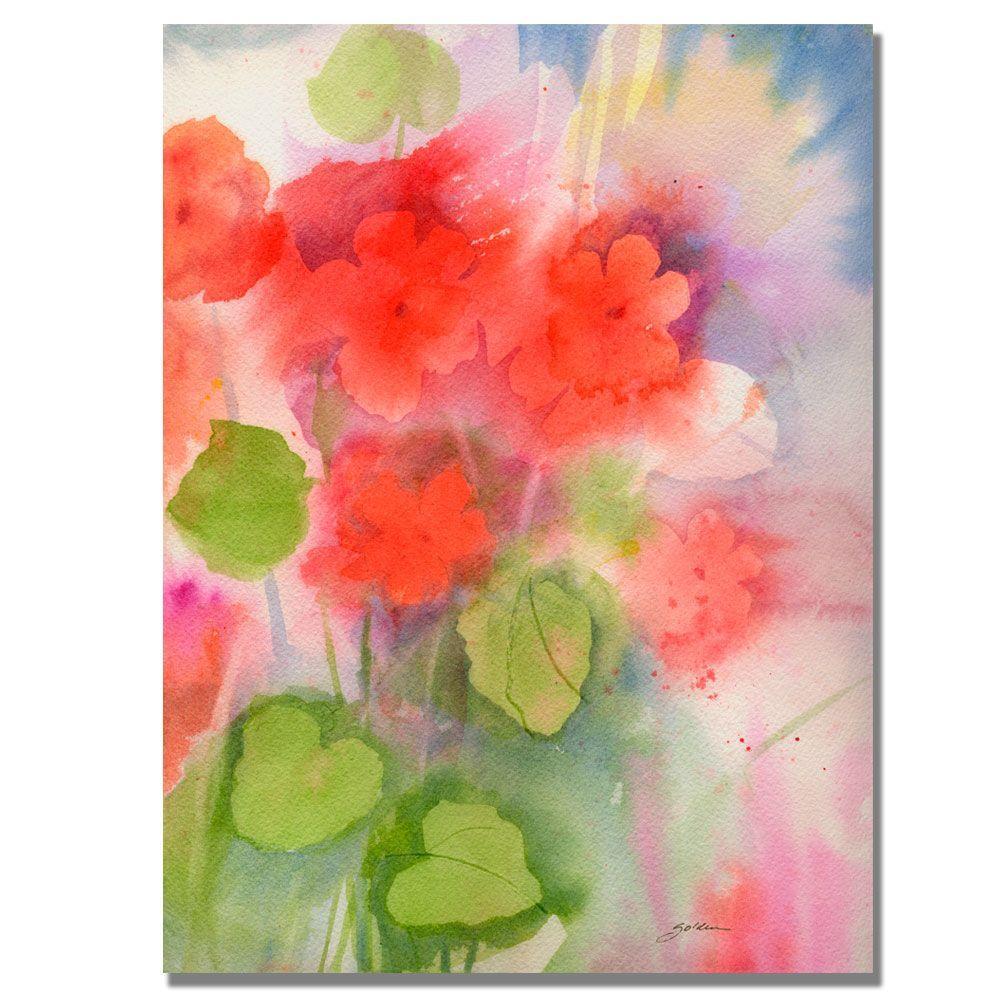 Trademark Fine Art 30 in. x 47 in. Red Geraniums Canvas Art