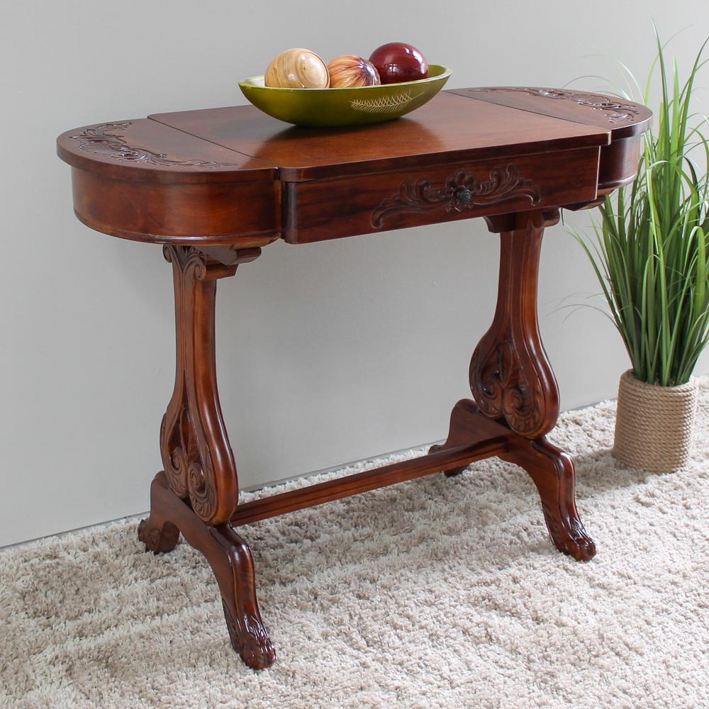 hand carved brown stained wood writing table with secret flip up
