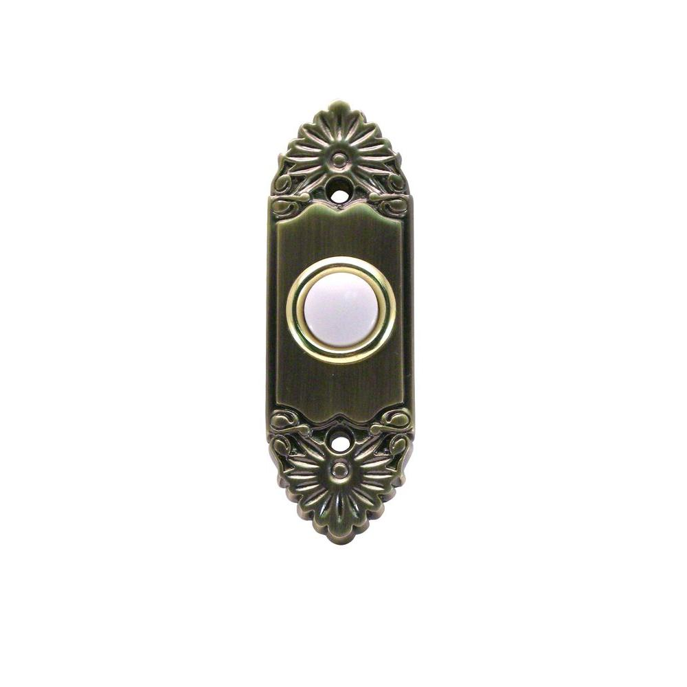 IQ America Wired Lighted Doorbell Push Button - Antique Brass Pocked