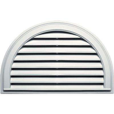 22 in. x 34 in. Half Round Gable Vent in White