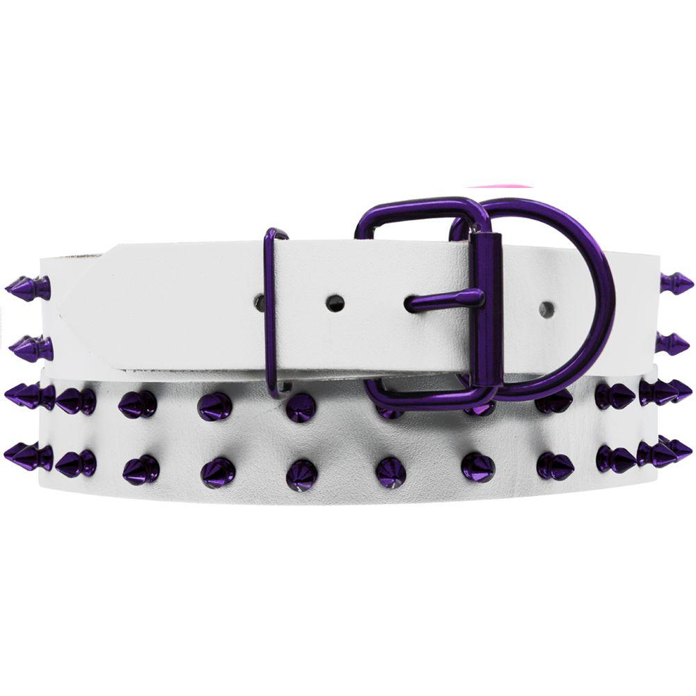 Platinum Pets 29 in. White Genuine Leather Dog Collar in Purple Spikes