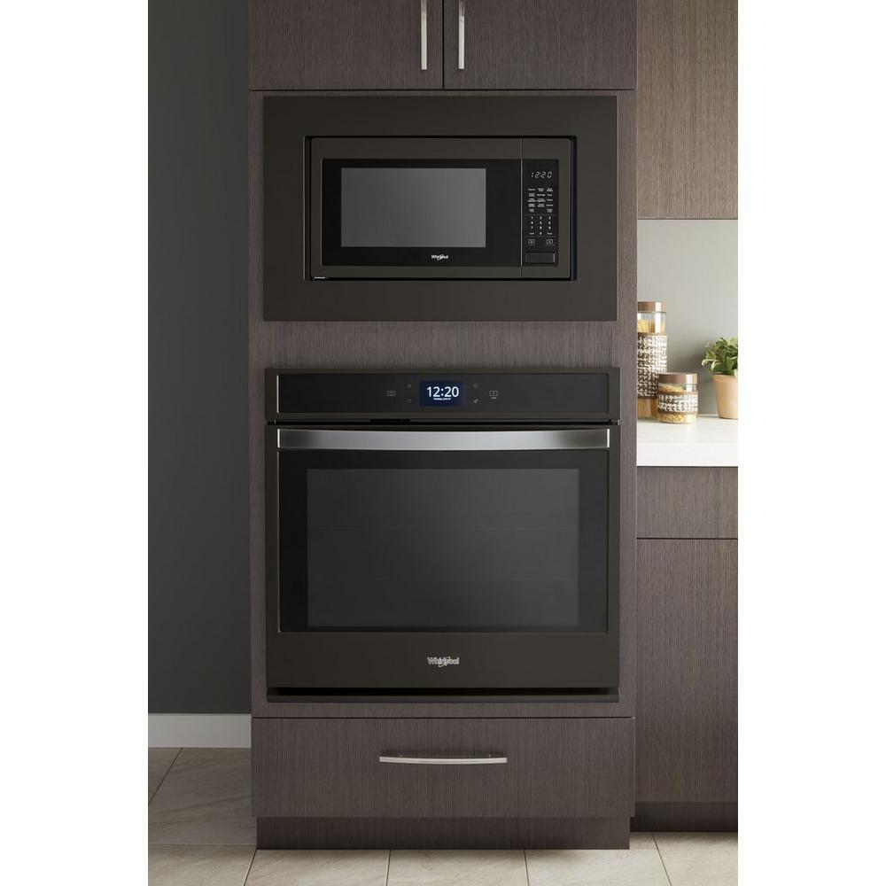 5 Whirlpool 1 6 Cu Ft Countertop Microwave In Fingerprint Resistant Black Stainless