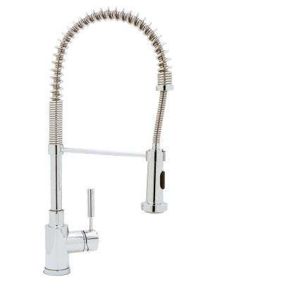 Meridian Single Handle Pull Down Sprayer Kitchen Faucet In Polished Chrome