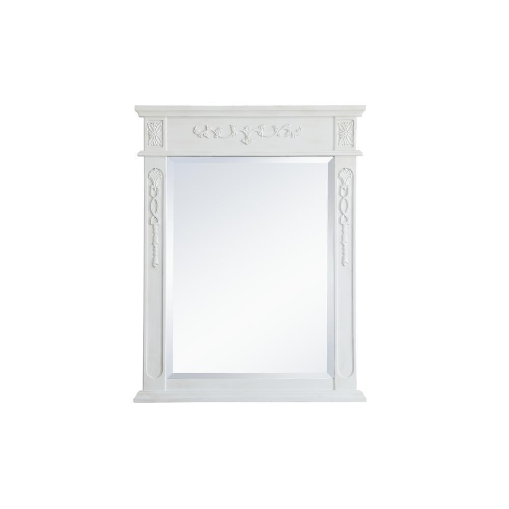 Medium Rectangle Antique White Contemporary Mirror (36 in. H x 28 in. W)