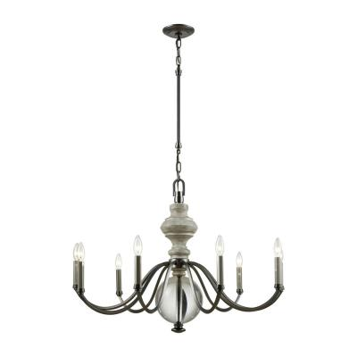 Neo Classica 9-Light Aged Black Nickel with Weathered Birch Wood and Clear Crystal Ball Chandelier