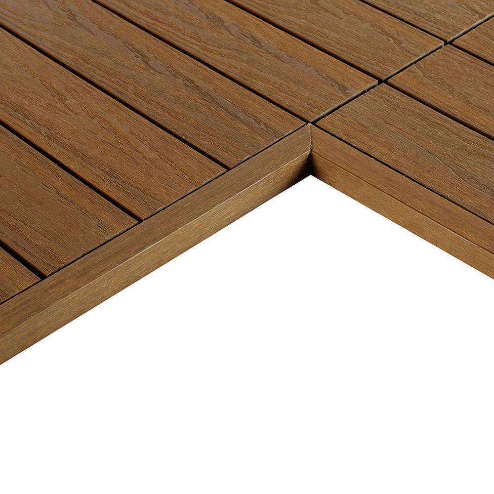 1/6 ft. x 1 ft. Quick Deck Composite Deck Tile Inside End Corner Fascia in Peruvian Teak (2-Pieces/box)