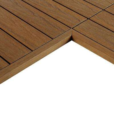 1/6 ft. x 1 ft. Quick Deck Composite Deck Tile Inside End Corner Fascia in Peruvian Teak (2-Pieces/box)