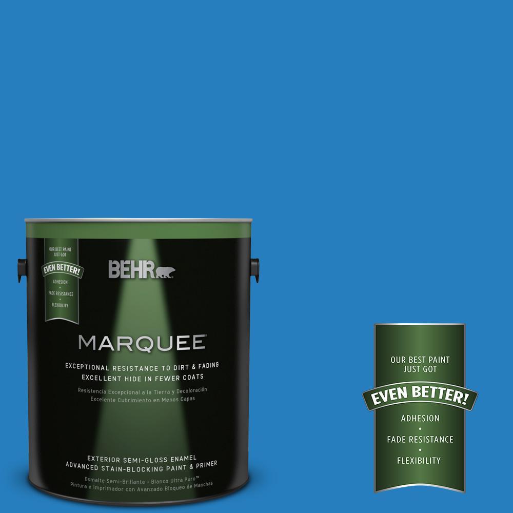 BEHR MARQUEE 1-gal. #P510-6 Brilliant Blue Semi-Gloss Enamel Exterior Paint