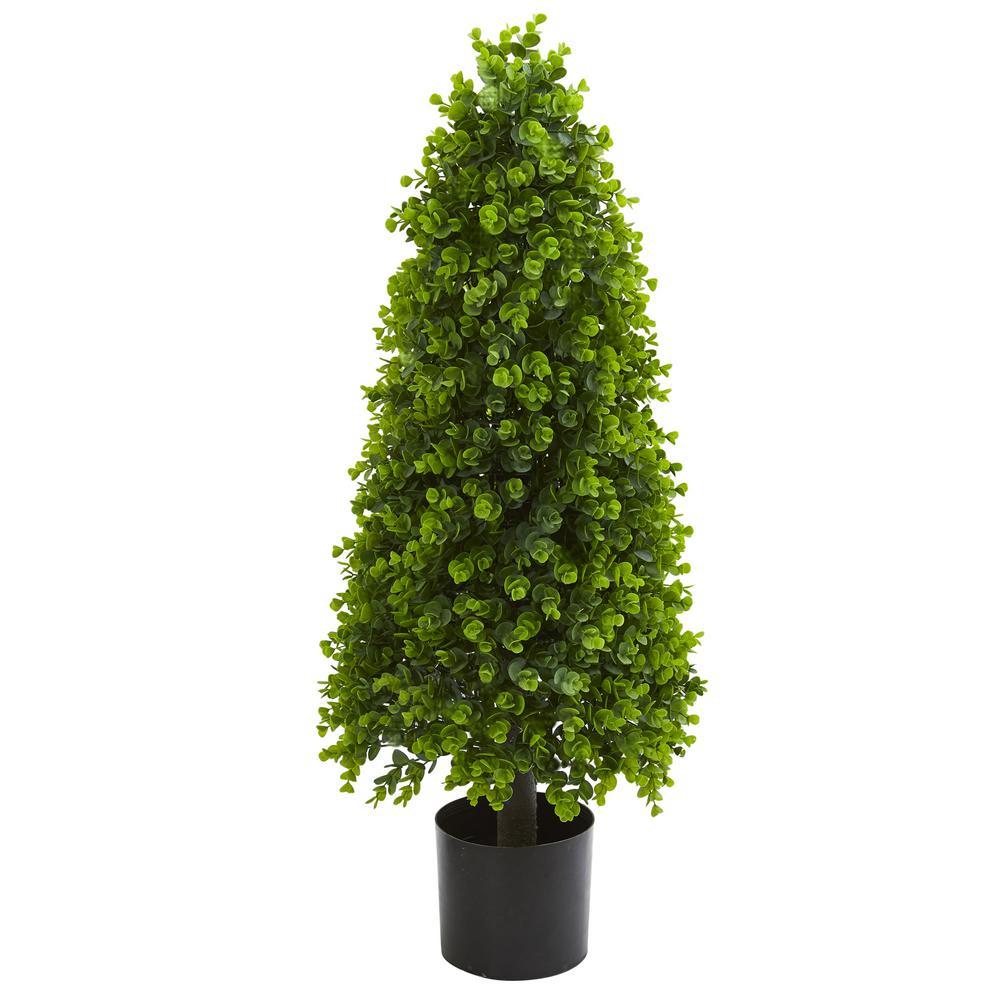 3 ft. Indoor/Outdoor Eucalyptus Topiary Artificial Tree