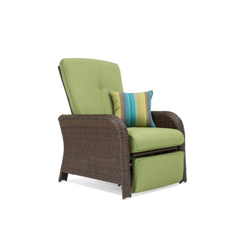 La Z Boy Sawyer Wicker Outdoor Recliner With Sunbrella Spectrum Cilantro  Cushion