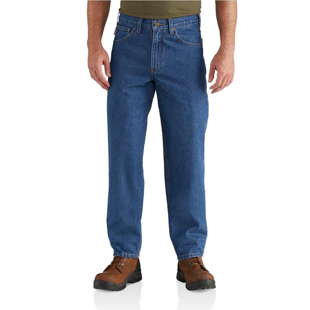 Men's 38 in. x 32 in. Darkstone Cotton Tapered Leg Denim Bottoms
