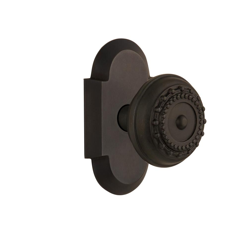 Cottage Plate 2-3/4 in. Backset Oil-Rubbed Bronze Passage Hall/Closet Meadows