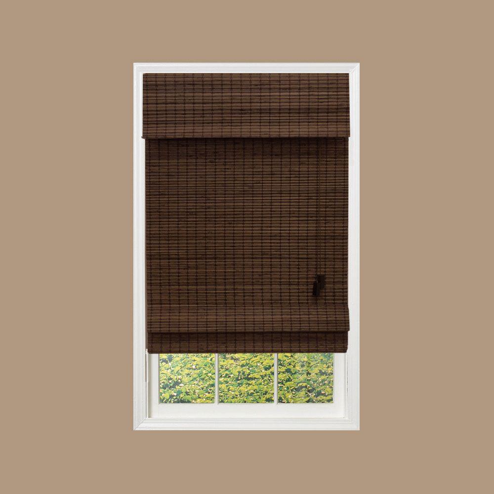 Espresso Flat-Weave Bamboo Roman Shade - 72 in. W x 48
