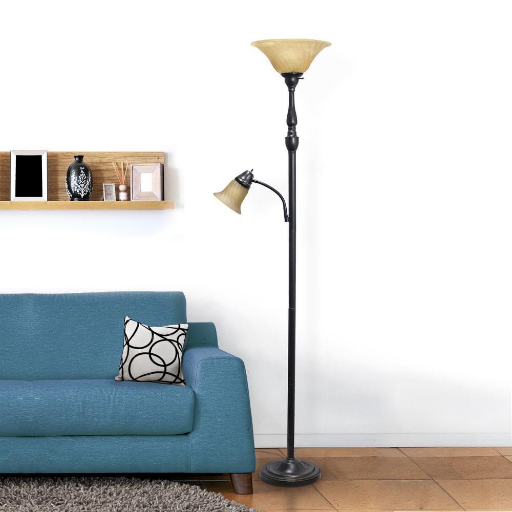 Elegant Designs 71 In Elegant Designs 2 Light Mother Daughter Floor Lamp With Amber Marble Glass Restoration Bronze Lf2003 Rba The Home Depot