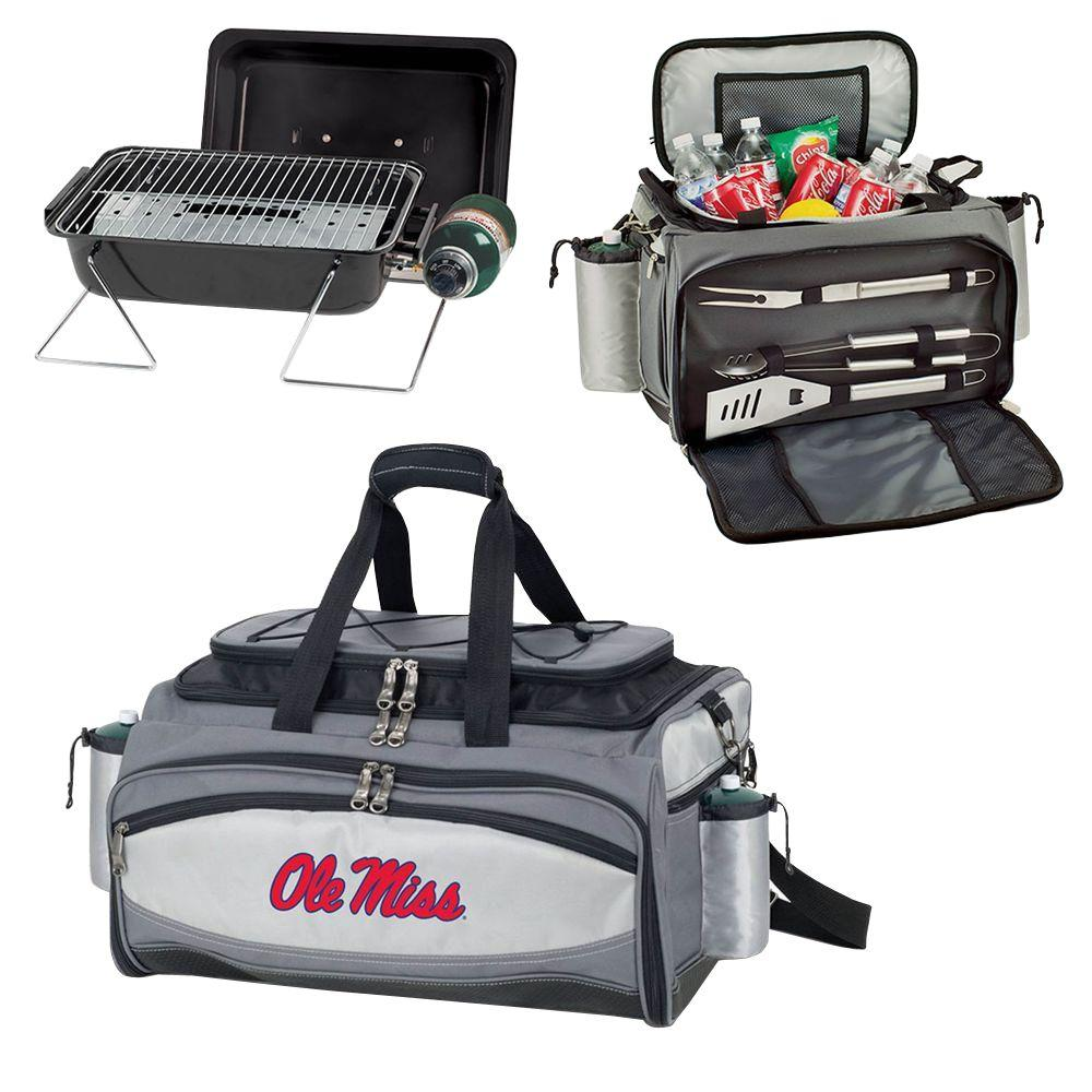 Picnic Time Ole Miss Rebels - Vulcan Portable Propane Grill and Cooler Tote by Embroidered, Black/Gray