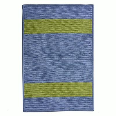 Cafe Milano Blue/Bright Green 2 ft. x 9 ft. Braided Indoor/Outdoor Runner Rug