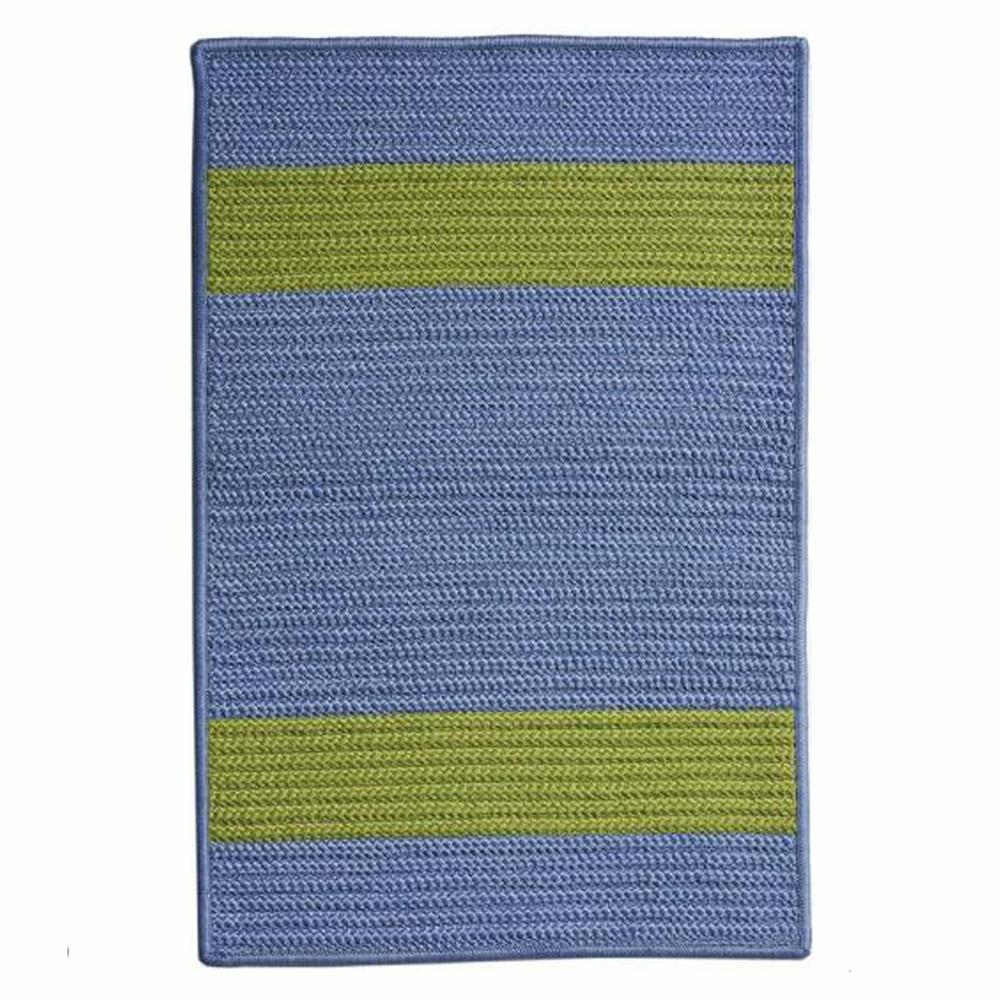 Cafe Milano 2 ft. x 11 ft. Blue/Bright Green Indoor/Outdoor Braided
