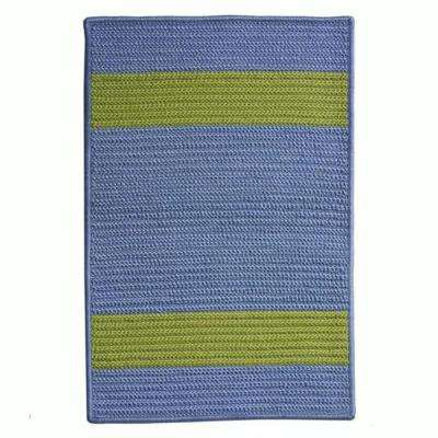 Cafe Milano 3 ft. x 3 ft. Blue/Bright Green Indoor/Outdoor Braided Area Rug