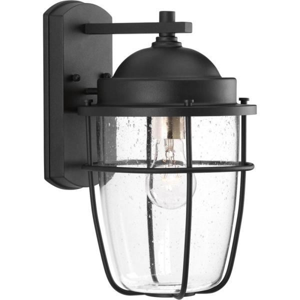 Holcombe Collection 1-Light Black 13.6 in. Outdoor Wall Lantern Sconce