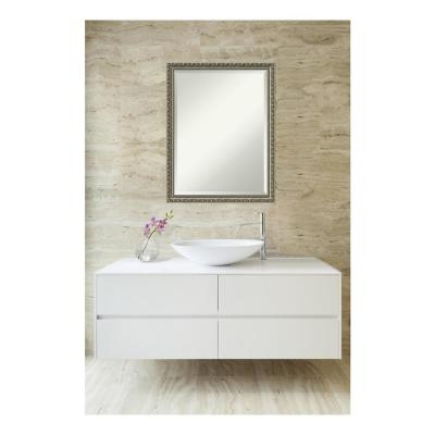 Parisian Silver Wood 21 in. x 27 in. Traditional Framed Decorative Wall Mirror