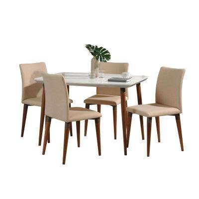 Charles 45.27 in. 5-Piece White Gloss and Dark Beige Dining Set