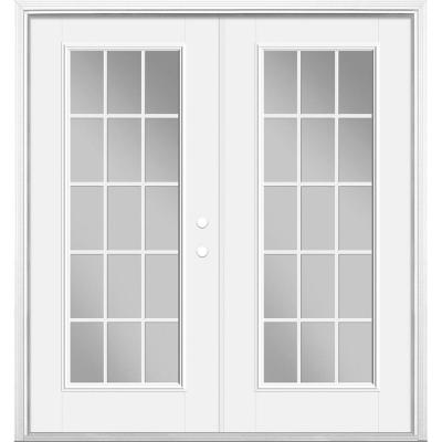 72 in. x 80 in. Primed White Fiberglass Prehung Left Hand Inswing GBG 15-Lite Clear Glass Patio Door with Brickmold