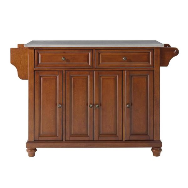Cambridge Cherry Kitchen Island with Stainless Steel Top