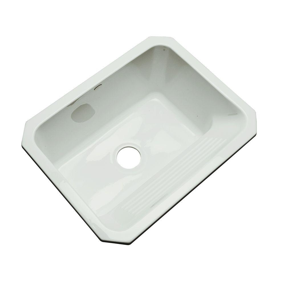 Thermocast Kensington Undermount Acrylic 25 in. Single Bowl Utility Sink in Ice Grey