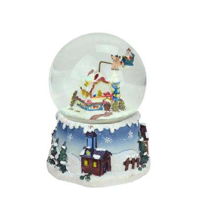5.5 in. Christmas Santa Claus on Sleigh and Snowy Village Rotating Musical Water Globe Dome