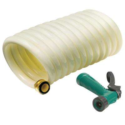 25 ft. White Poly Coiled Washdown Hose With Sprayer