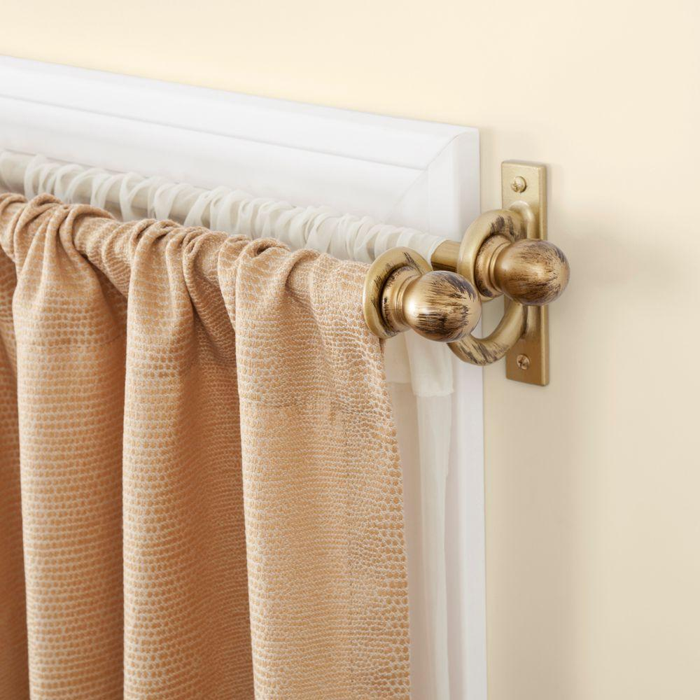 Kenney 28 in. - 48 in. Telescoping 5/8 in. Double Curtain Rod Kit in Antique Gold with Ball Finial