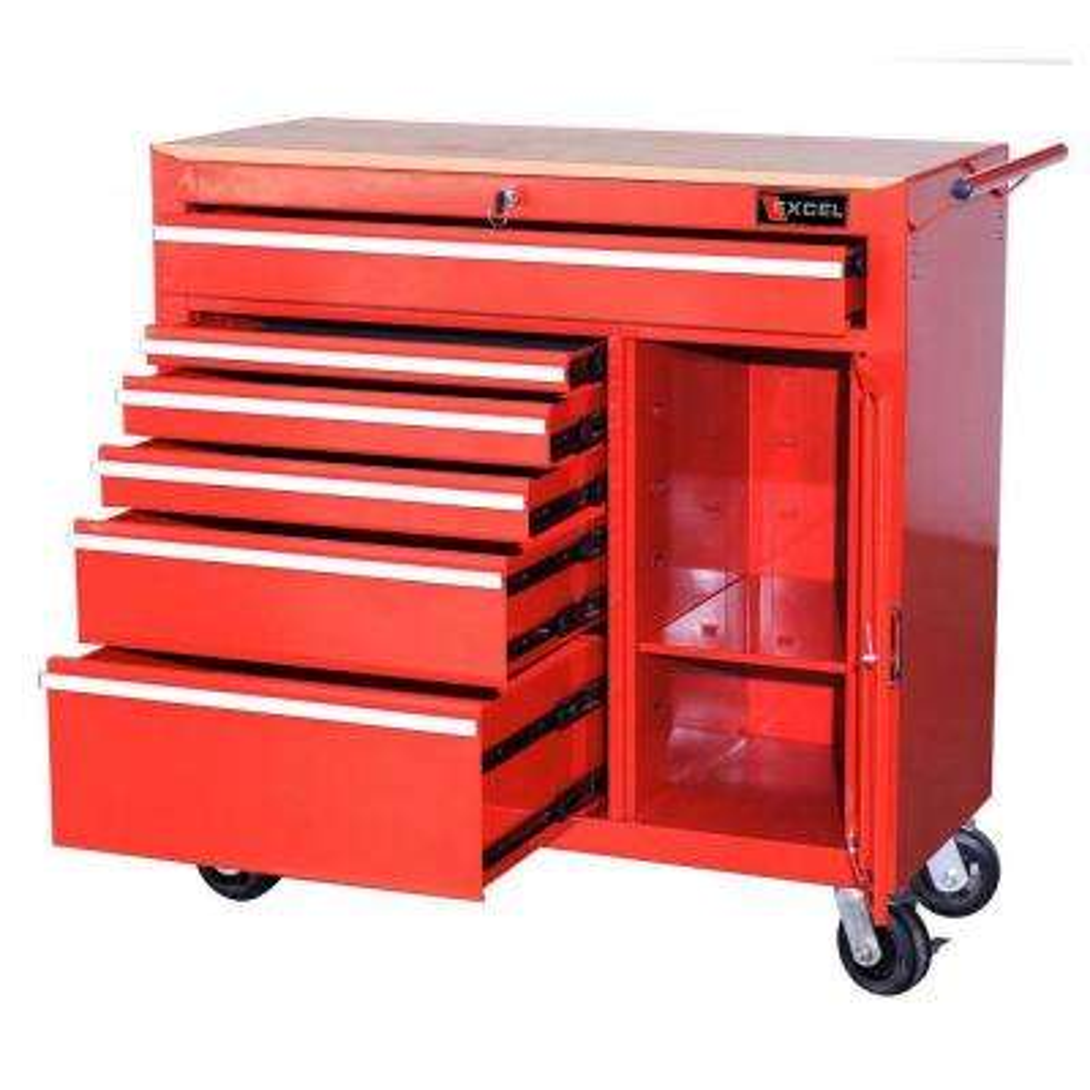41 in. W x 18 in. D x 41.4 in. H Steel Roller Cabinet, Red