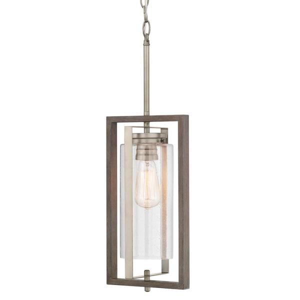 Palermo Grove Antique Nickel 1-Light Hanging Outdoor Lantern with Weathered Gray Wood Accents