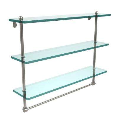 22 in. L  x 18 in. H  x 5 in. W 3-Tier Clear Glass Bathroom Shelf with Towel Bar in Satin Nickel