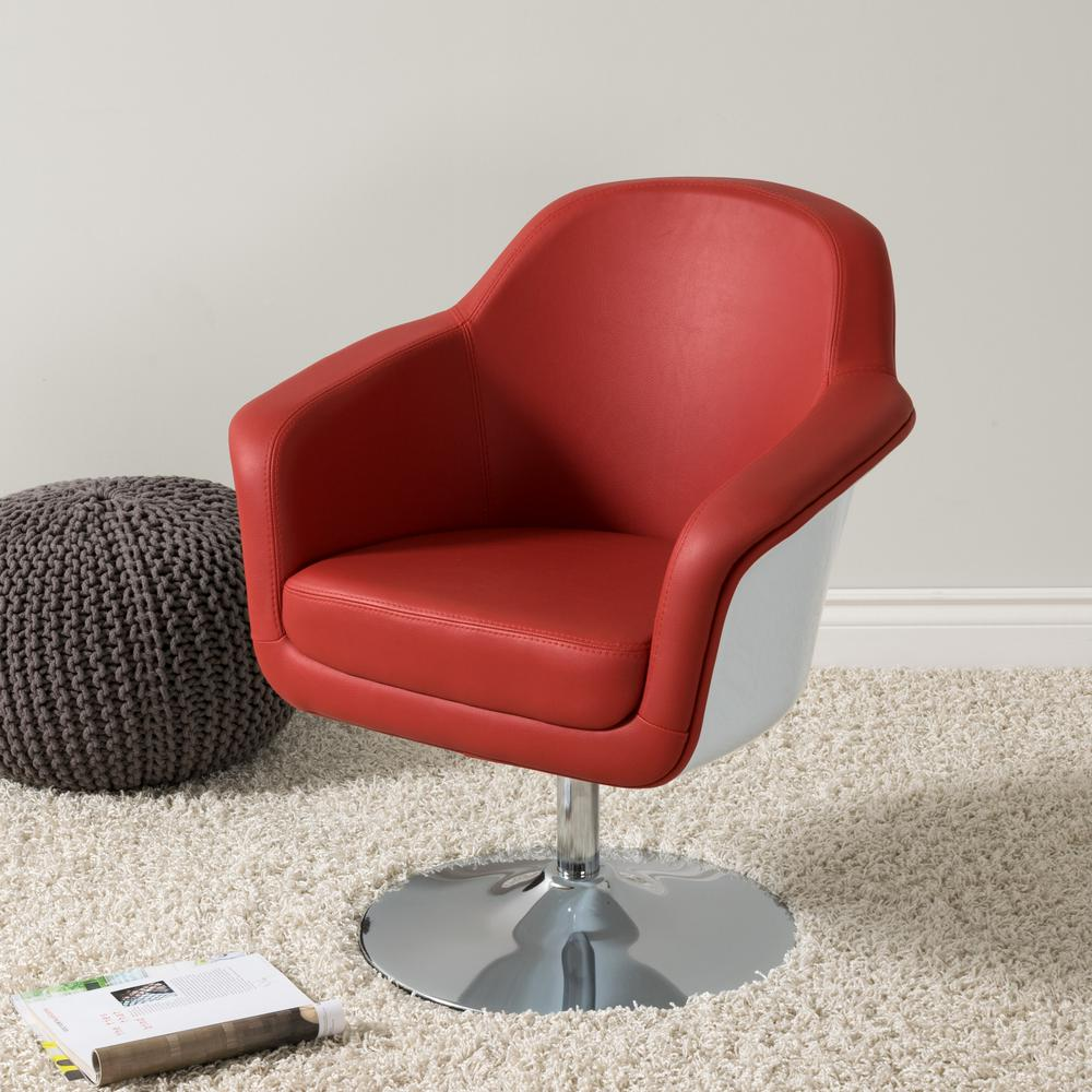 Charmant CorLiving Mod Modern Red And White Bonded Leather Accent Chair