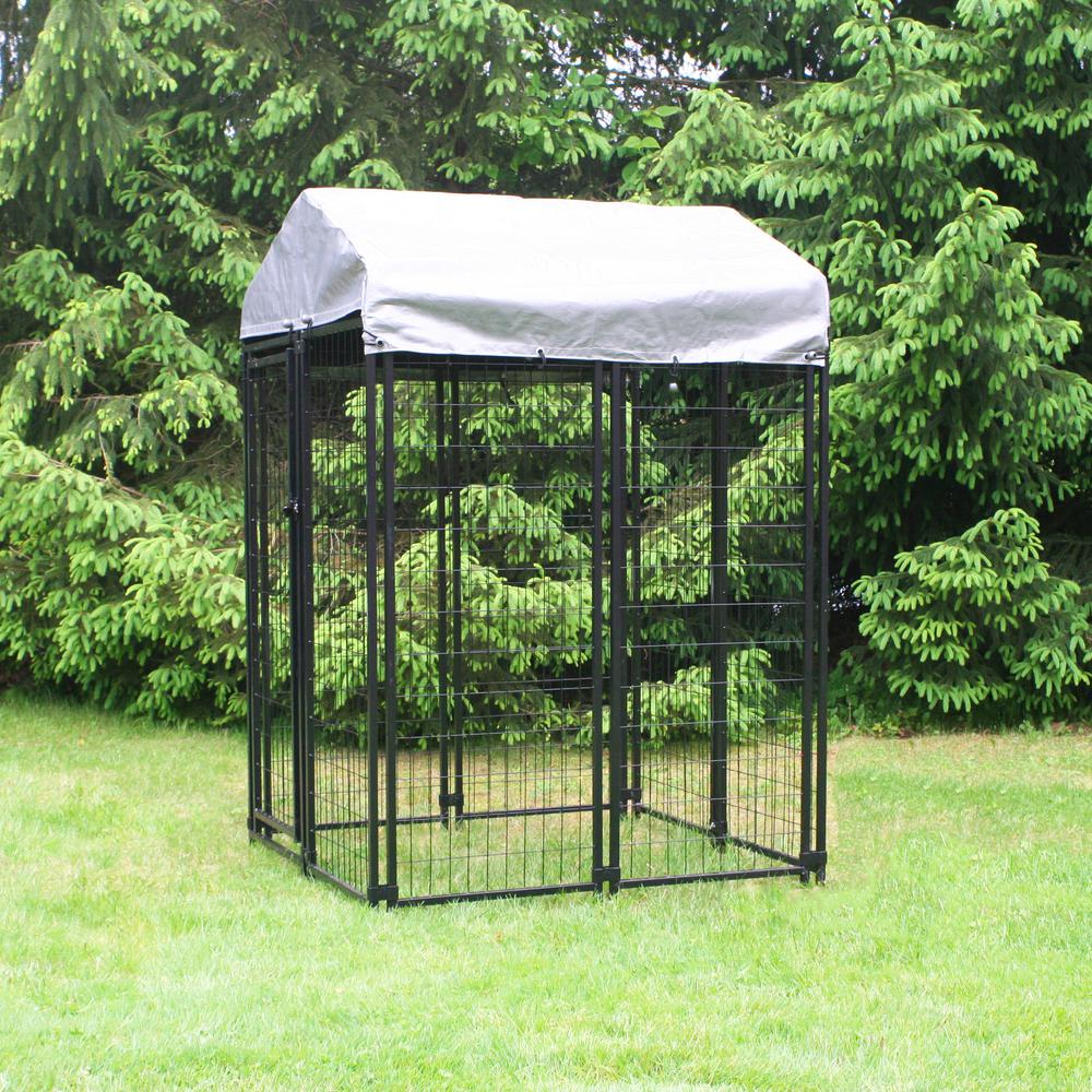 4 ft. x 4 ft. x 6 ft. Welded Wire Dog Fence Kennel Kit