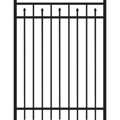 Brilliance Standard-Duty 4 ft. W x 5 ft. H Black Aluminum Straight Pre-Assembled Fence Gate