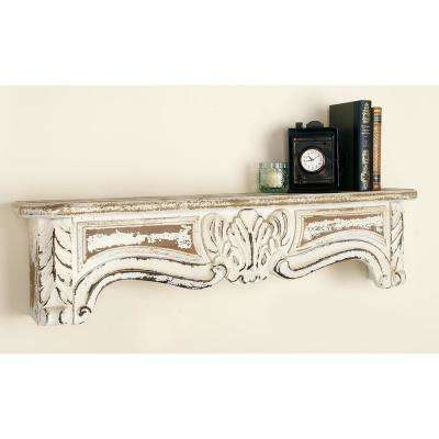 36 in. x 9 in. Rustic Carved Wooden Wall Shelf