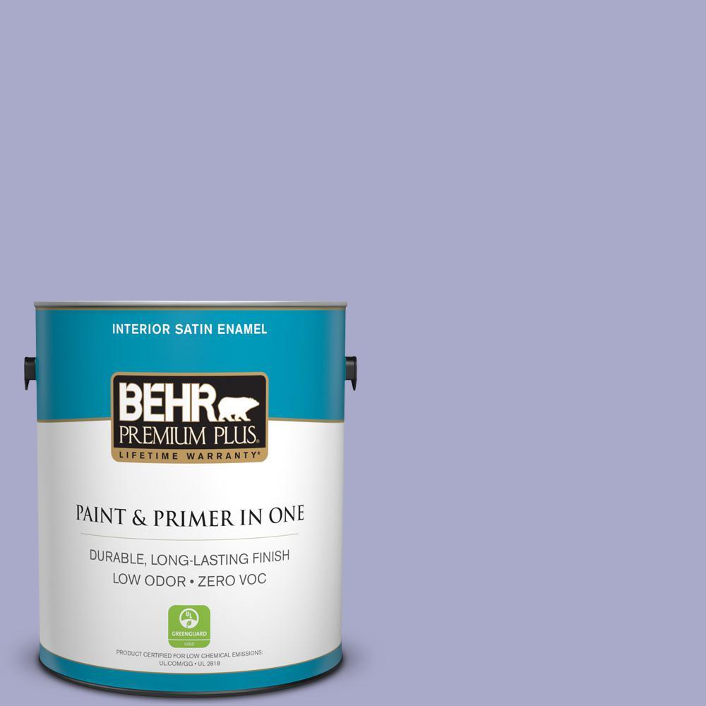 BEHR Premium Plus 1-gal. #M550-4 Wisteria Blue Satin Enamel Interior Paint