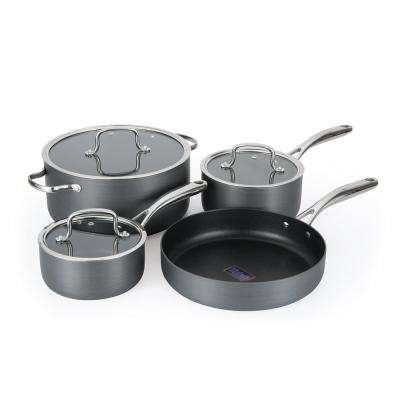 7-Piece Gray Cookware Set with Lids