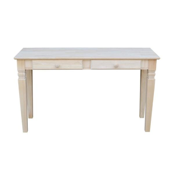 Java 52 in. Unfinished Standard Rectangle Wood Console Table with Drawers