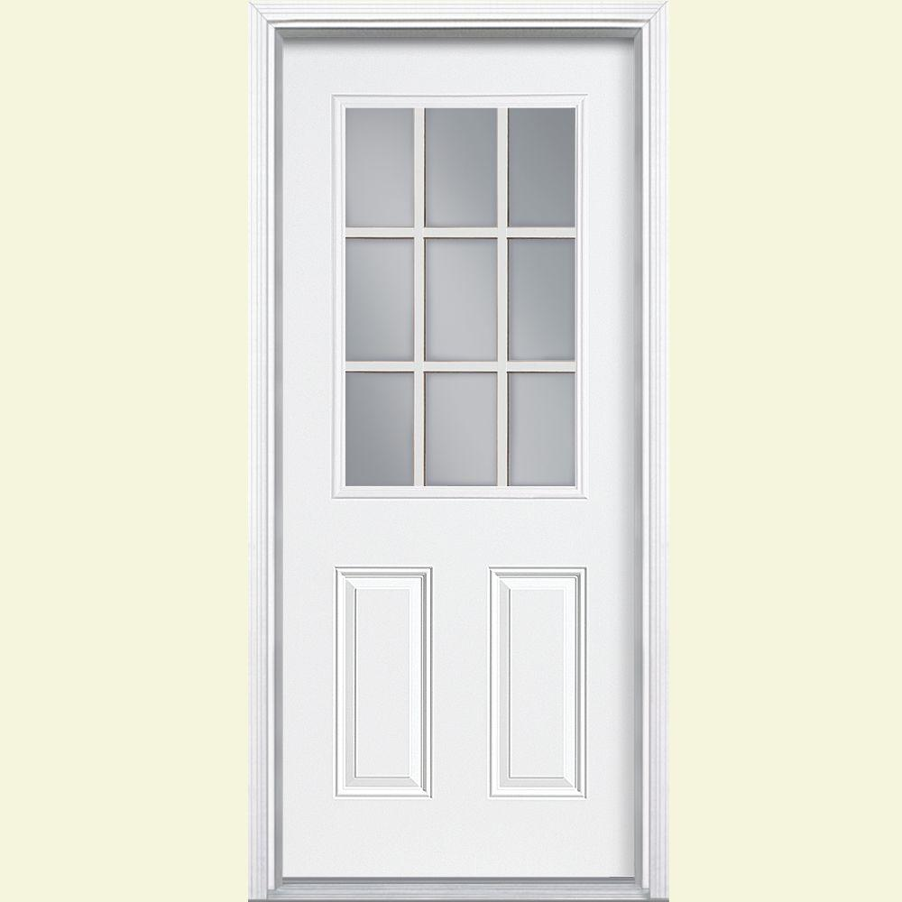 9 lite righthand inswing primed steel prehung front door with the home depot