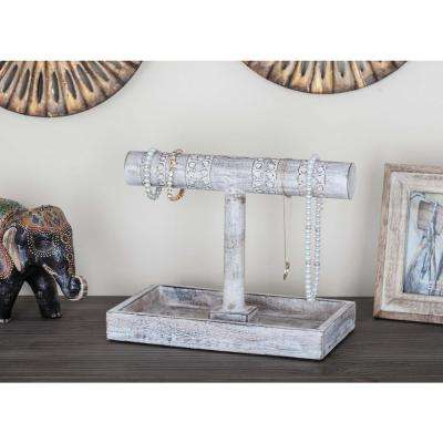 10 in. x 12 in. Rustic Mango Wood Jewelry Holder in Distressed White