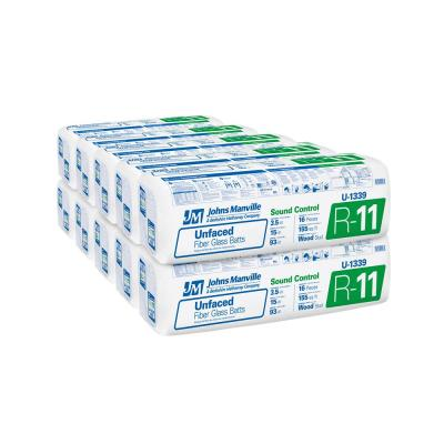 R-11 Unfaced Fiberglass Insulation Batt 15 in. x 93 in. (10-Bags)