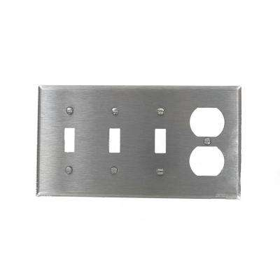 1-Gang Standard Size 3-Toggles 1-Duplex Receptacle Combination Wallplate, Stainless Steel