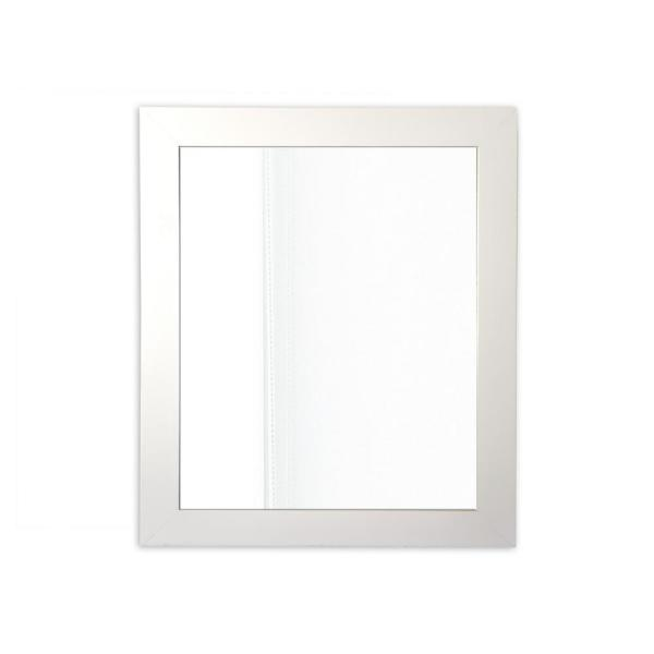 54 in. x 20.5 in. Classic Rectangle Framed Rustic White Accent Mirror