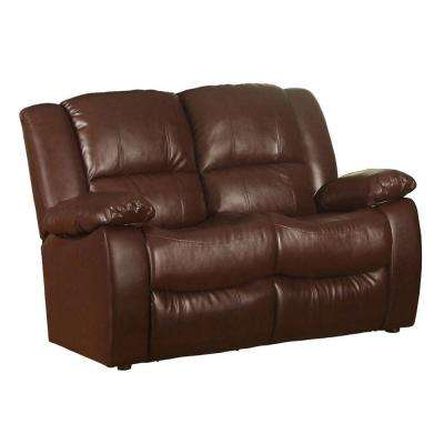 Clarksville Chocolate Brown Leatherette Loveseat