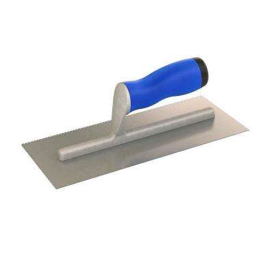11 in. x 4-1/2 in. U-Notched Flooring Trowel with 1/16 in. x 1/16 in. x 3/32 in. Notch Size and Comfort Grip Handle