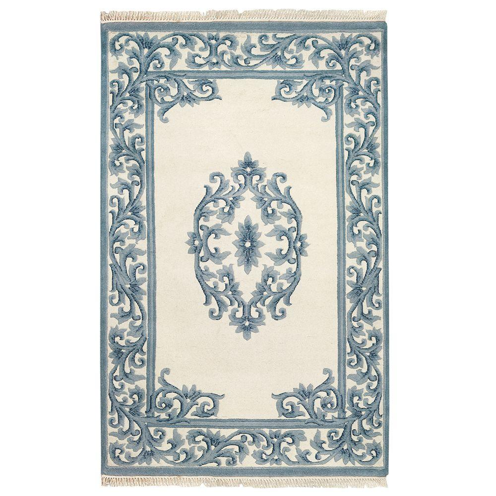 Filigree Aubusson Blue 2 ft. x 3 ft. Area Rug