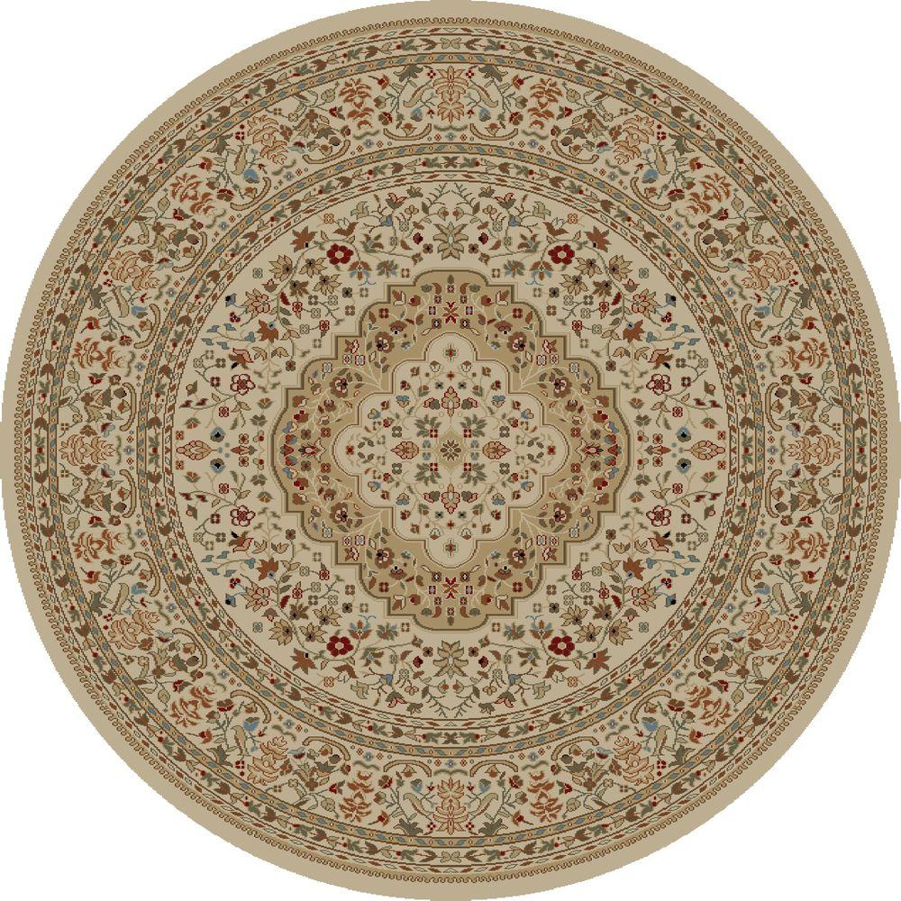Concord Global Trading Ankara Kerman Ivory 5 ft. 3 in. Round Area Rug